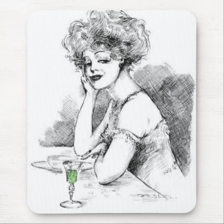 """Lady Enjoying Absinthe""  Mousepad"