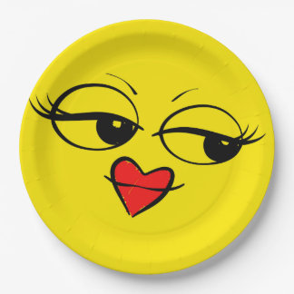 Lady Eyes Red Lips Smiley Face Funny Emoji Party Paper Plate