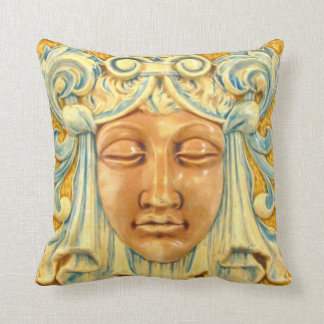 Lady Face Antique Tile Print Arts and Crafts Era Pillows