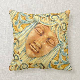 Lady Face Antique Tile Print Arts and Crafts Era Pillow