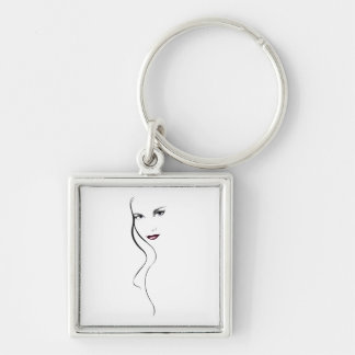 LADY FACE Silver-Colored SQUARE KEYCHAIN