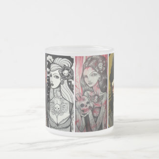 lady faces frosted glass coffee mug