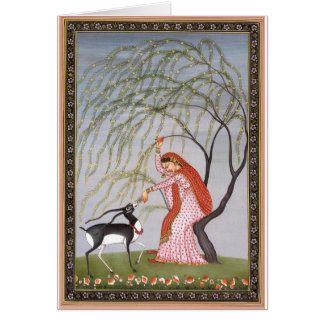 LADY FEEDING ANTELOPE ANCIENT INDIA ART CARD