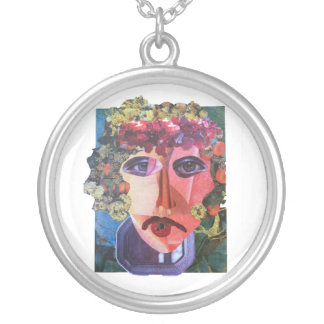 Lady Flower Power Helping Homeless People Round Pendant Necklace