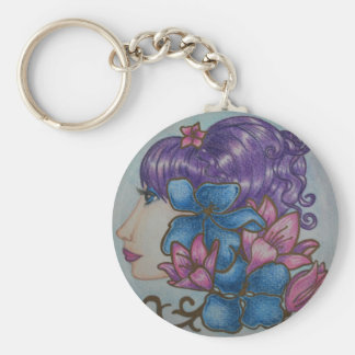 lady flowers basic round button keychain