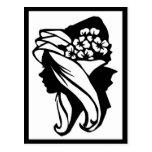 Lady Flowers Postcard