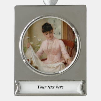 Lady Folding the Laundry Silver Plated Banner Ornament