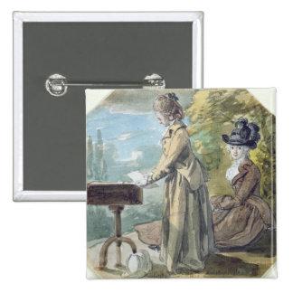 Lady Francis Scott and Lady Elliot, c.1770 (w/c ov Pinback Button