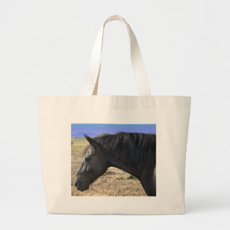 Lady Friesian Mare with Colorado blue sky Large Tote Bag
