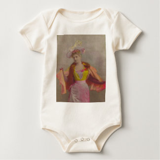 Lady from 1900's, dressed in pink baby bodysuit