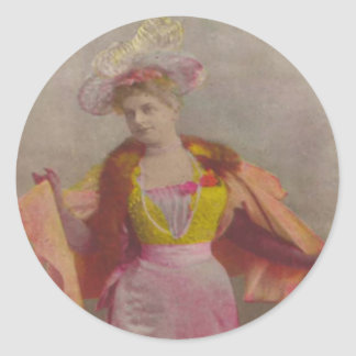 Lady from 1900's, dressed in pink classic round sticker