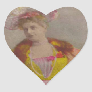 Lady from 1900's, dressed in pink heart sticker