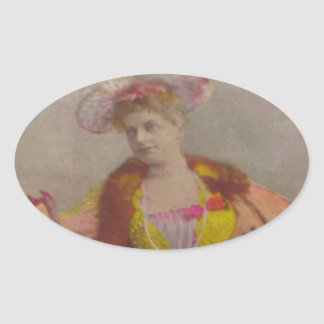 Lady from 1900's, dressed in pink oval sticker