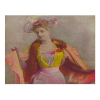 Lady from 1900's, dressed in pink postcard