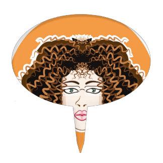Lady. Fuzzy Curls. Cake Topper
