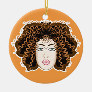 Lady. Fuzzy Curls. Ceramic Ornament