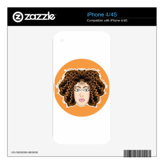 Lady. Fuzzy Curls. Decals For iPhone 4