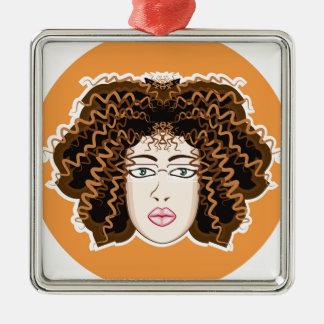Lady. Fuzzy Curls. Metal Ornament