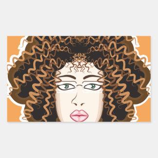 Lady. Fuzzy Curls. Rectangular Sticker