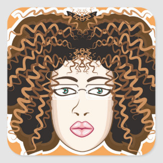 Lady. Fuzzy Curls. Square Sticker