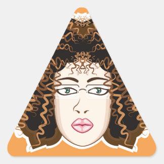 Lady. Fuzzy Curls. Triangle Sticker