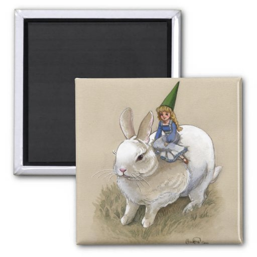 Lady Gnome and Rabbit 2 Inch Square Magnet