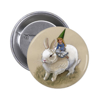 Lady Gnome and Rabbit Pinback Button