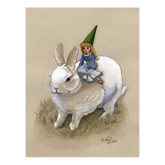 Lady Gnome and Rabbit Postcard