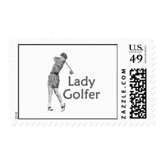 Lady Golfer Gray Logo Postage Stamp