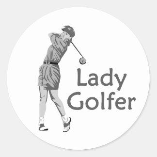 Lady Golfer Gray Logo Classic Round Sticker