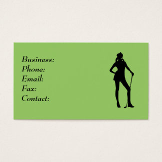 Lady Golfer Green Business Card Template