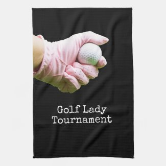Lady golfer is holding golf ball black Golf Kitchen Towel