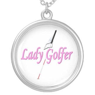 Lady Golfer Round Pendant Necklace
