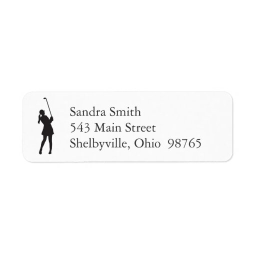 Lady Golfer Return Address Labels