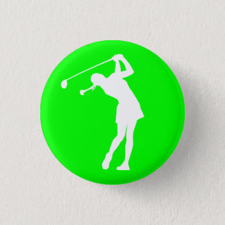 Lady Golfer Silhouette Button Green