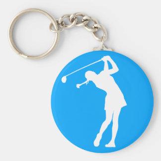 Lady Golfer Silhouette Keychain Blue