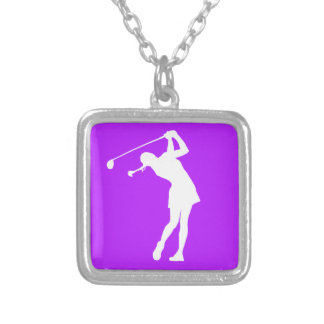 Lady Golfer Silhouette Necklace Purple