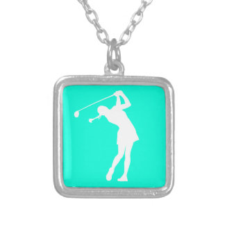 Lady Golfer Silhouette Necklace Turquoise