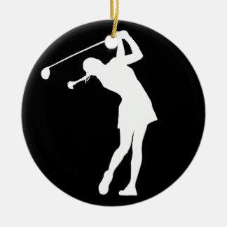 Lady Golfer Silhouette Ornament Black