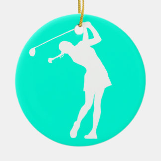 Lady Golfer Silhouette Ornament Turquoise