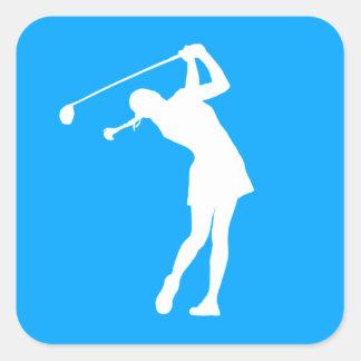 Lady Golfer Silhouette Sticker Blue