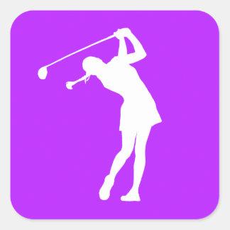 Lady Golfer Silhouette Sticker Purple
