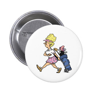 Lady Golfer Tshirts and Gifts Button