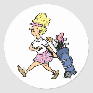 Lady Golfer Tshirts and Gifts Classic Round Sticker