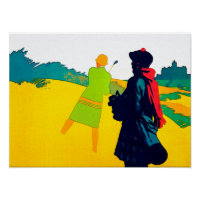 Lady Golfer - Vintage Art On Canvas Poster