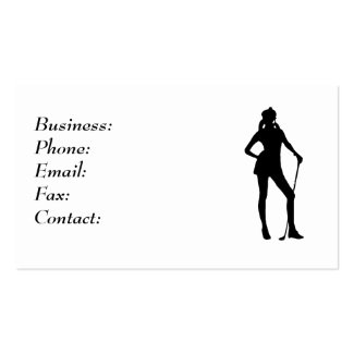 Lady Golfer White Business Card Template