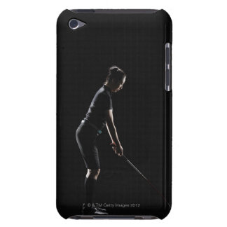 Lady golfer who sets up driver of golf having it barely there iPod cover