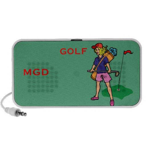 Lady golfer with monogram on a Doodle speaker