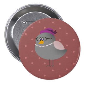 Lady Grey Bird Round Bordeaux Badge Pinback Button