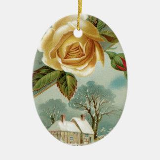 Lady Grey Perfume USA Double-Sided Oval Ceramic Christmas Ornament